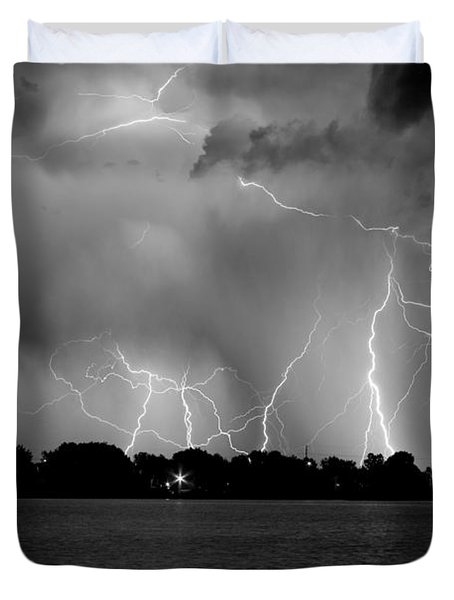 Lake Lightning Two Bw Duvet Cover by James BO  Insogna