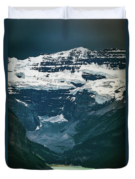 Duvet Cover featuring the photograph Lake Louise At Distance by William Lee