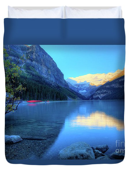Lake Louise Autumn Bright Sunrise Banff National Park Duvet Cover