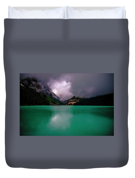 Lake Louise Before Storm Duvet Cover by Patrick Boening