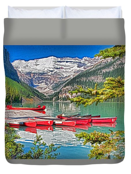 Lake Louise Duvet Cover by Dennis Cox WorldViews
