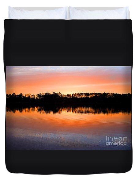 Lake Maumelle Sunset Duvet Cover