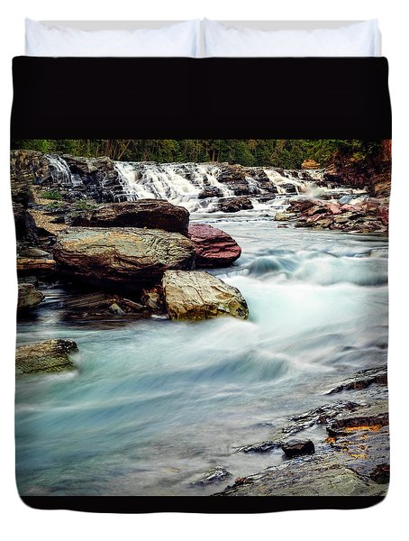 Lake Mcdonald Falls, Glacier National Park, Montana Duvet Cover