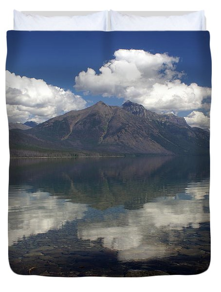 Lake Mcdonald Reflection Glacier National Park Duvet Cover