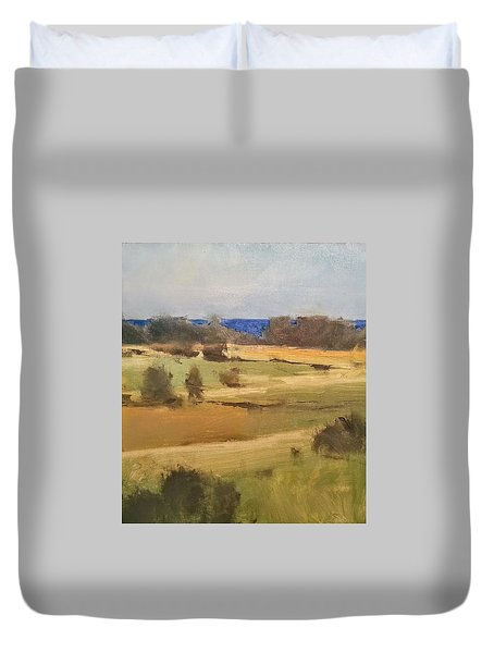 Lake Michigan Across The Field Duvet Cover