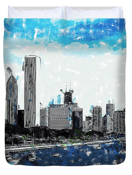 Lake Michigan And The Chicago Skyline Duvet Cover