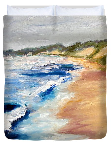 Lake Michigan Beach With Whitecaps Detail Duvet Cover by Michelle Calkins