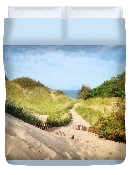 Duvet Cover featuring the photograph lake Michigan Coastal Dune Path by Michelle Calkins