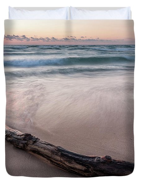 Duvet Cover featuring the photograph Lake Michigan Driftwood by Adam Romanowicz