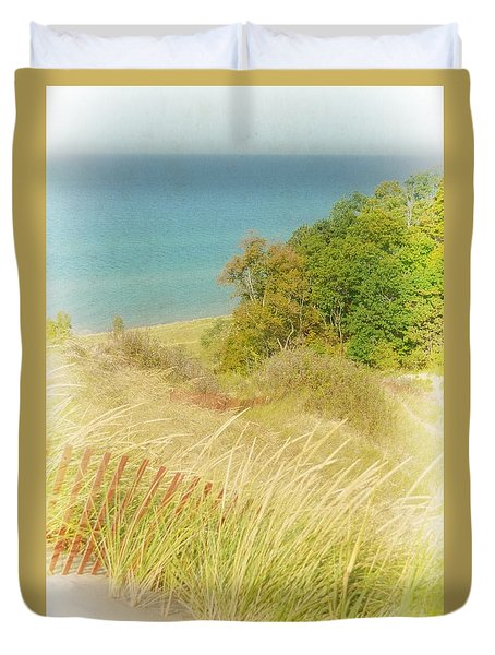 Duvet Cover featuring the photograph Lake Michigan Dune View by Michelle Calkins