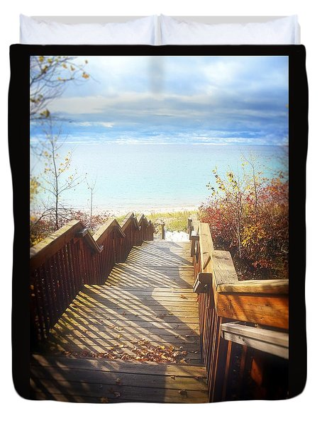 Duvet Cover featuring the photograph Lake Michigan In The North by Michelle Calkins