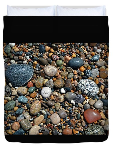 Duvet Cover featuring the photograph Lake Michigan Stone Collection by Michelle Calkins