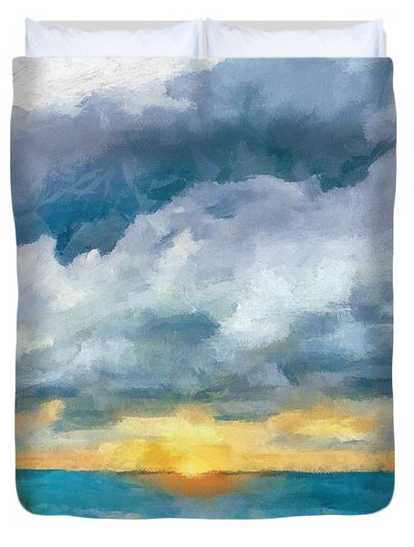 Lake Michigan Sunset Duvet Cover by Michelle Calkins