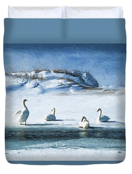Lake Michigan Swans Duvet Cover