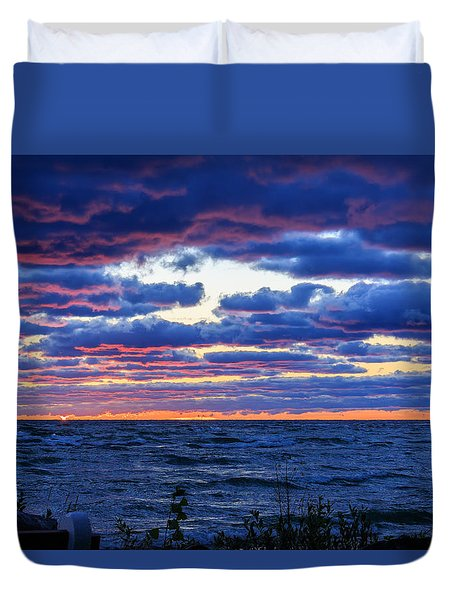 Lake Michigan Windy Sunrise Duvet Cover