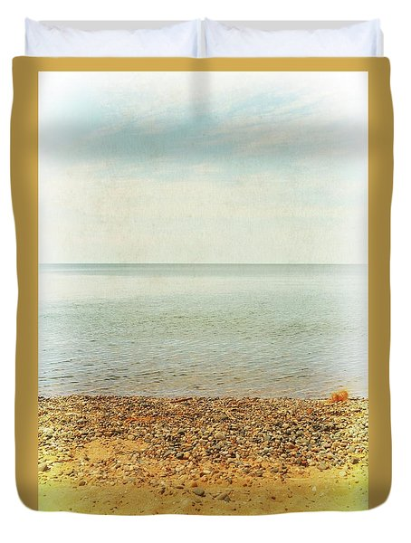 Duvet Cover featuring the photograph Lake Michigan With Stony Shore by Michelle Calkins