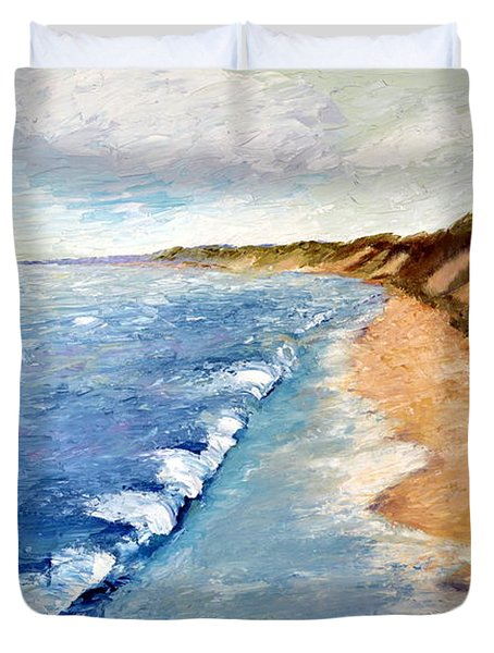Lake Michigan With Whitecaps Ll Duvet Cover by Michelle Calkins