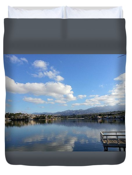 Lake Mission Viejo Cloud Reflections Duvet Cover