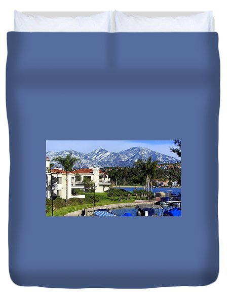 Lake Mission Viejo Snow On Saddleback Mountain Duvet Cover