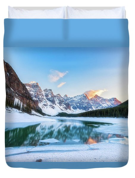 Duvet Cover featuring the photograph Lake Moraine Sunset by Russell Pugh
