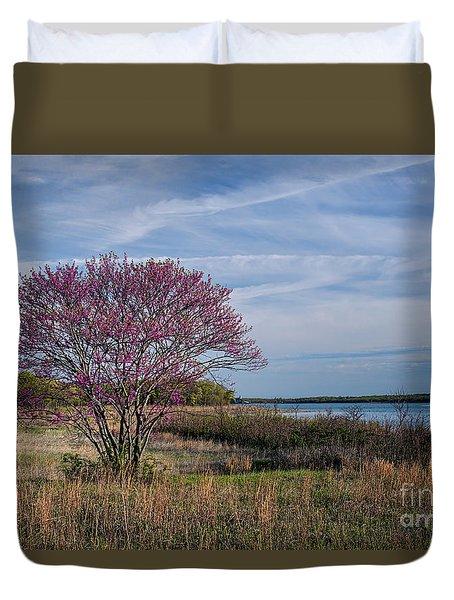 Lake Murray Redbud Tree Duvet Cover