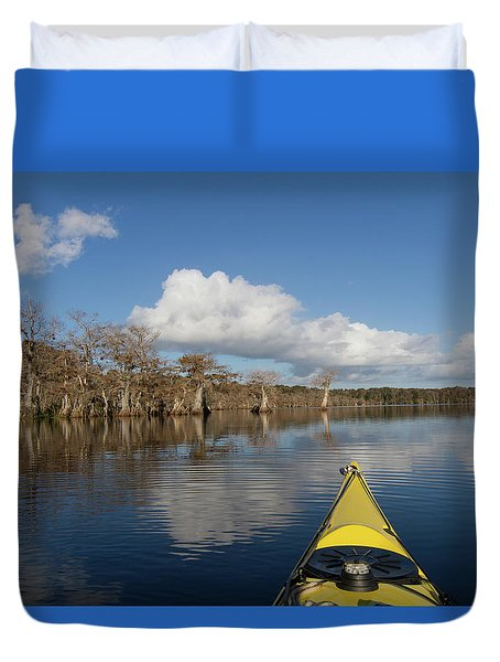 Lake Norris Kayak Duvet Cover by Paul Rebmann