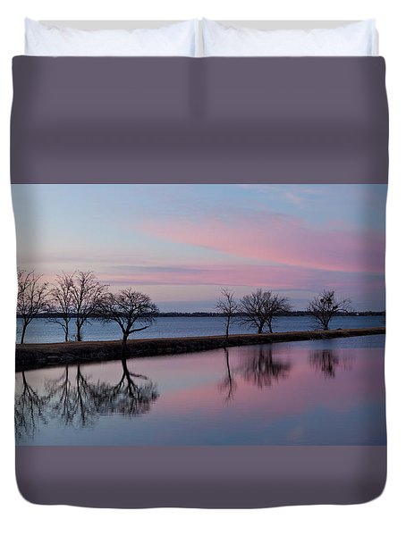 Lake Overholser Sunset Duvet Cover