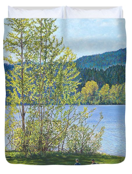 Lake Padden-memorial Bench Of Art And Stacia Christopher Duvet Cover