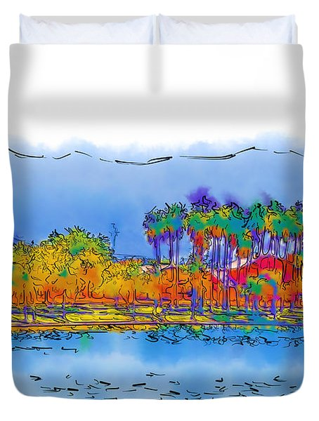 Lake, Palms And Mountains In Subtle Abstract Duvet Cover