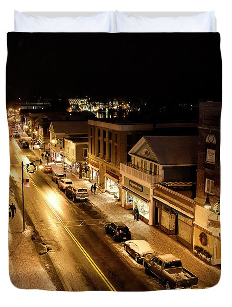 Duvet Cover featuring the photograph Lake Placid New York - Main Street by Brendan Reals