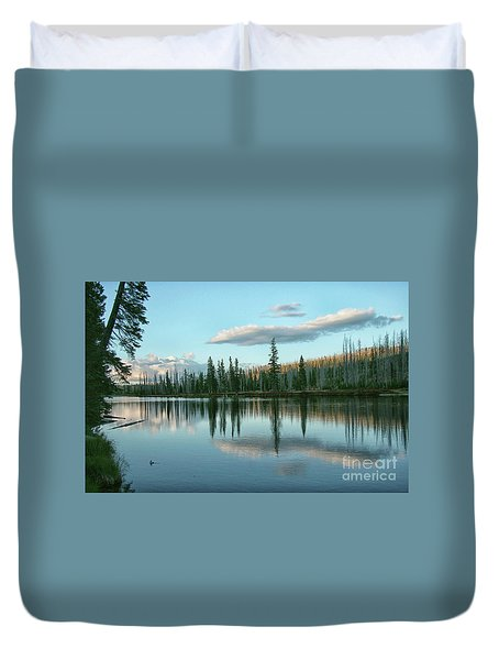 Lake Reflections Duvet Cover by Myrna Bradshaw