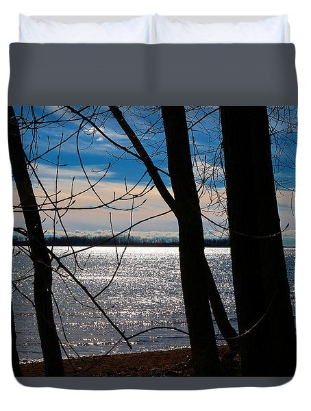 Duvet Cover featuring the photograph Lake Romance by Valentino Visentini