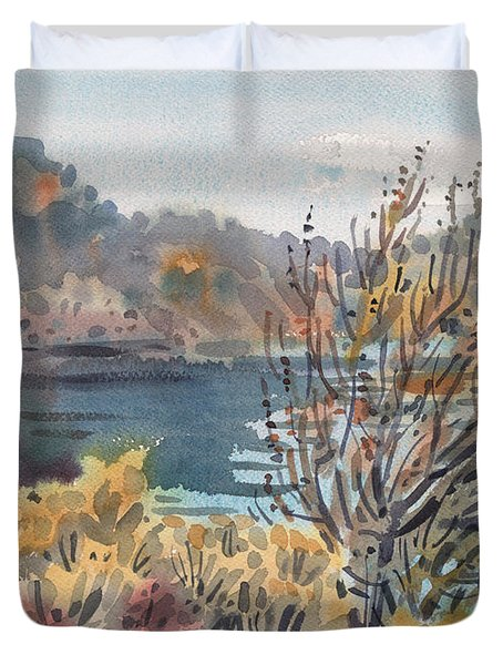 Duvet Cover featuring the painting Lake Roosevelt by Donald Maier