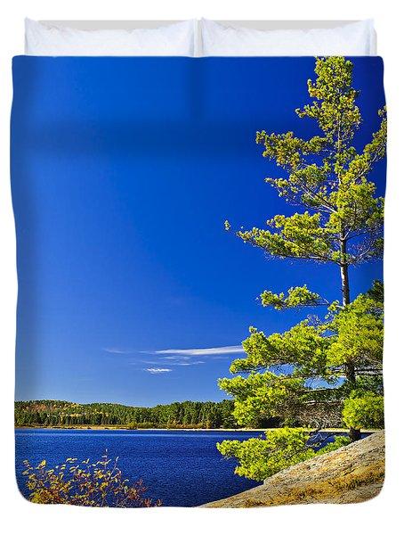 Lake Shore In Ontario Duvet Cover