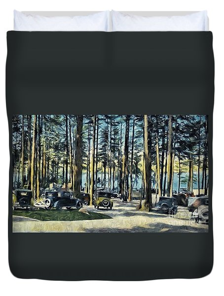 Lake Shore Park - Gilford N H Duvet Cover by Mim White