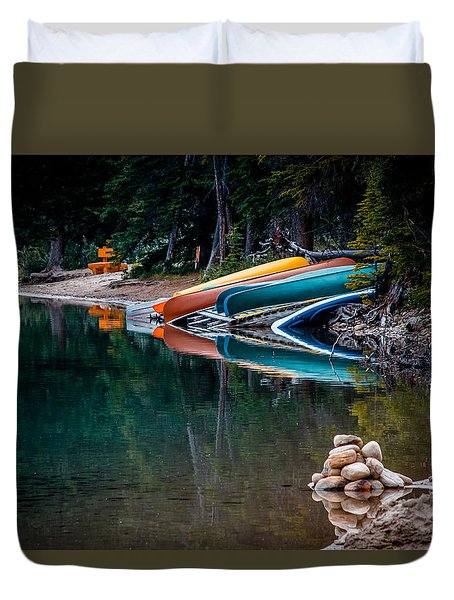 Kayaks At Rest Duvet Cover