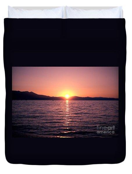 Lake Sunset 8pm Duvet Cover