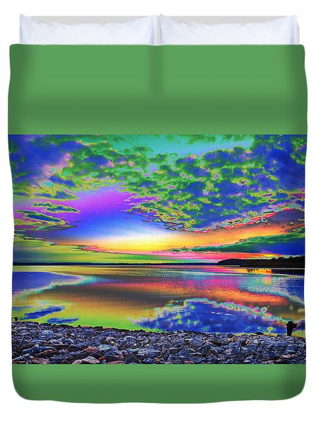 Lake Sunset Abstract Duvet Cover