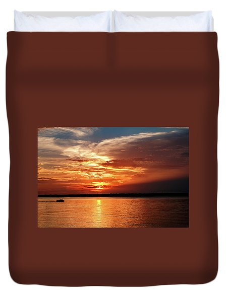 Lake Sunset Duvet Cover by Doug Long