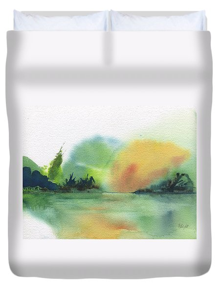 Duvet Cover featuring the painting Lake Sunset by Frank Bright