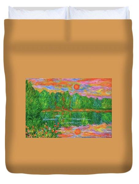 Lake Sunset Duvet Cover by Kendall Kessler