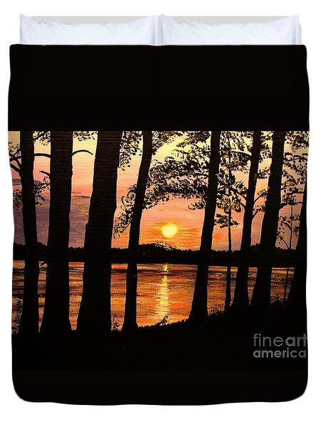 Duvet Cover featuring the painting Lake Sunset by Patricia L Davidson