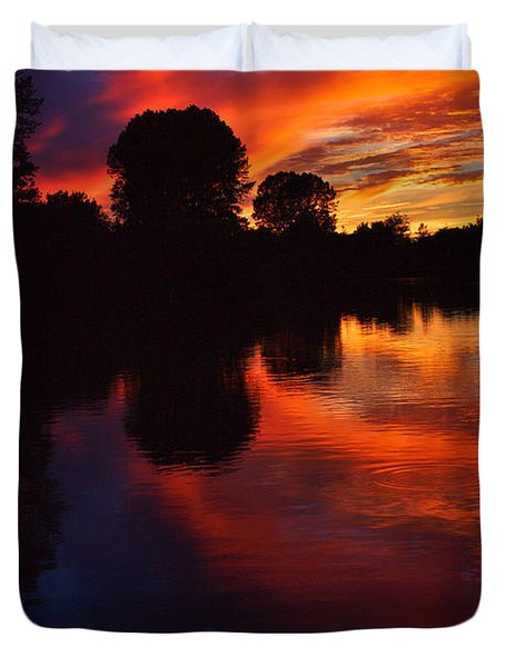 Lake Sunset Reflections Duvet Cover