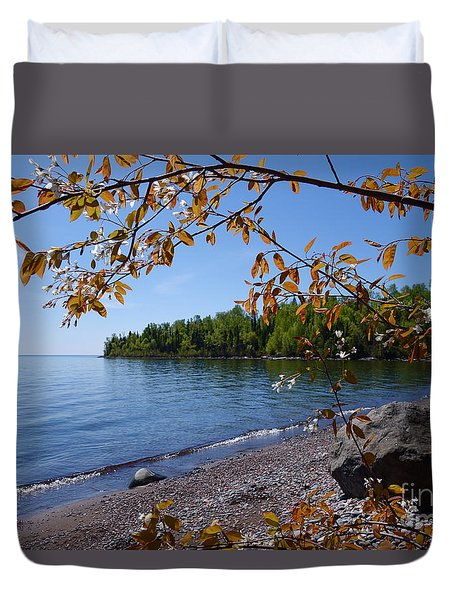 Duvet Cover featuring the photograph Lake Superior Serenity by Sandra Updyke