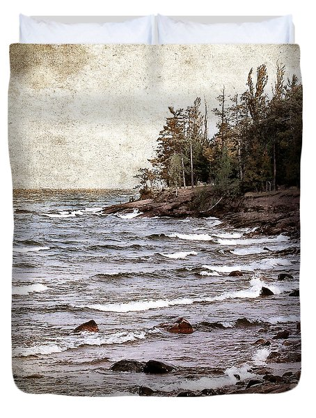 Lake Superior Waves Duvet Cover by Phil Perkins