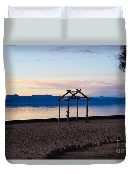 Duvet Cover featuring the photograph Lake Tahoe At Dusk by Suzanne Luft