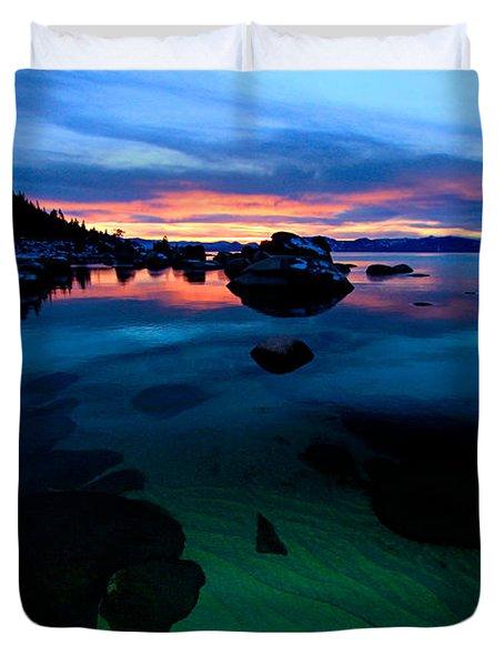 Lake Tahoe Clarity At Sundown Duvet Cover