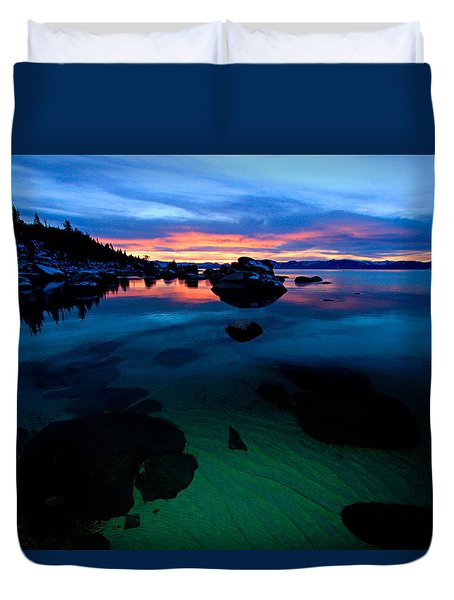 Lake Tahoe Clarity At Sundown Duvet Cover
