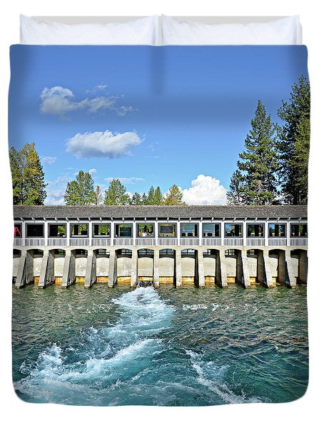 Duvet Cover featuring the photograph Lake Tahoe Dam by David Lawson