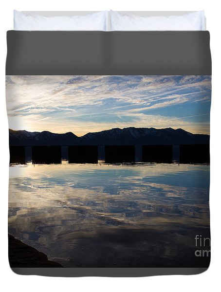 Duvet Cover featuring the photograph Lake Tahoe Reflections by Suzanne Luft
